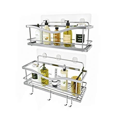 KINCMAX Shower Caddy Bathroom Shelf No Drilling Traceless Adhesive Bathroom Storage Organizer SUS304 Rustproof Food Storage Basket 2-in-1 Kitchen Spice Racks-2 Pack Polished Silver