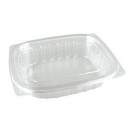 16 oz Clear Plastic Container with Lid Combo - 250 per case