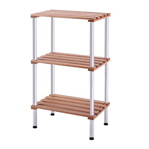 Bathroom Storage Tower Free Standing - Slatted Shelves Organizer is Best For Office Bedroom Laundry Room Bundle w Floor Protector Pads 3 Shelf