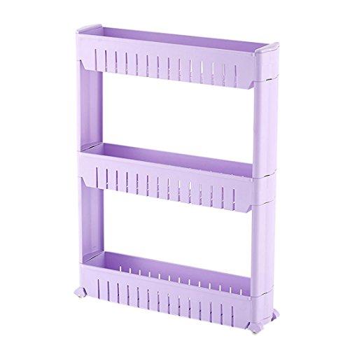 Qianle 3 Tier Slim Slide Out Storage Tower Rolling Trolley Holder Rack Kitchen Bathroom Shelf Purple