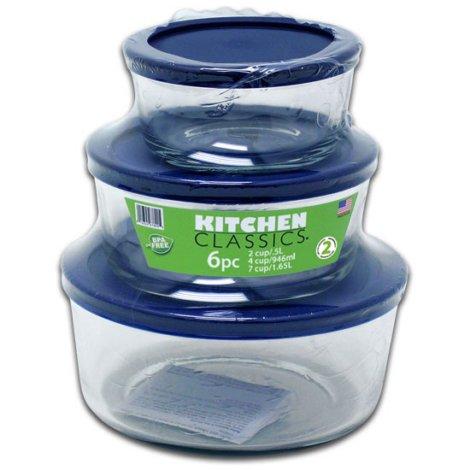 Kitchen Classics 6 Pc Round Glass Container Set