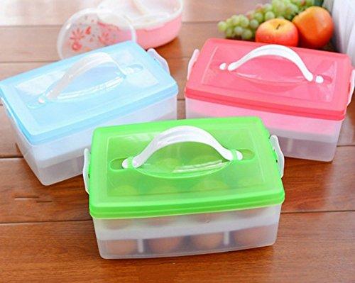 PerPor Refrigerator Plastic Egg Container Portable Picnic Egg Storage Holder24 eggs1 PiecesBlue