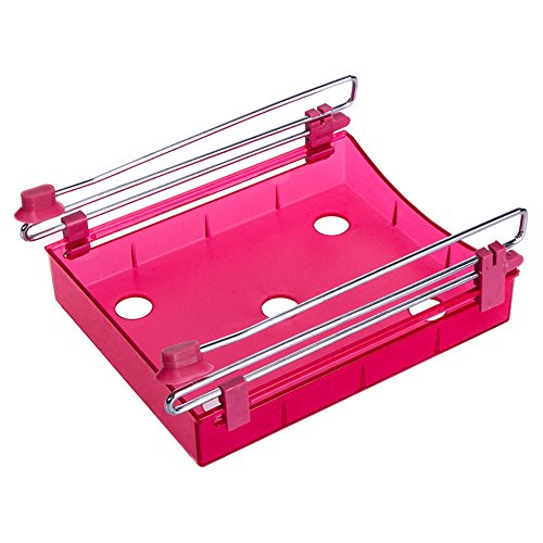 Yiuswoy Multifunction Plastic Sliding Drawer Kitchen Freezer Storage Organizer Refrigerator Bin Fridge Container Shelf Rack - Red