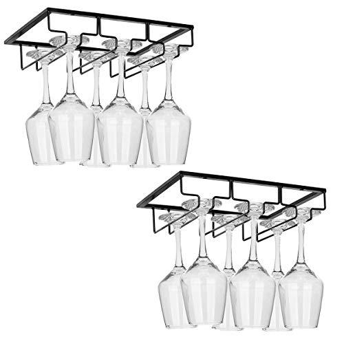 2 Pack Wine Glass Rack - 3 Rows Under Cabinet Stemware Wine Glass Holder Glasses Storage Hanger Metal Organizer for BarKitchenBlack