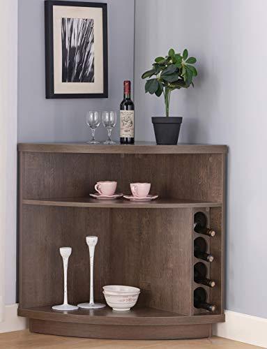 Amadeus Mid Century Retro Console Corner Cabinet for Wine Storage Walnut Oak Color