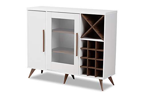 Baxton Studio Pietro Mid-Century Modern White and Walnut Finished Wood Wine Cabinet