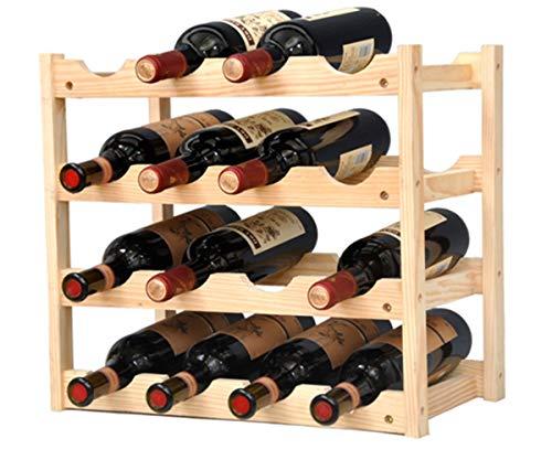 Pine Wine Holder 4 Layer 16 Bottles Wood Wine Rack Wine Shelf Wine Cabinet Display Stand for Home Living Room Kitchen Bar Solid Wood - Manual Assembly