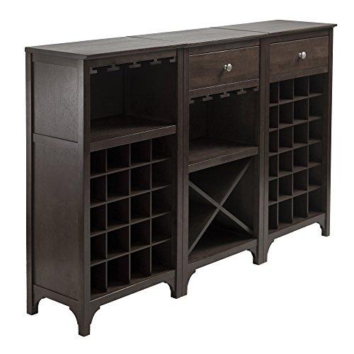 Winsome 3-Piece Ancona Wine Cabinet Modular Set Black
