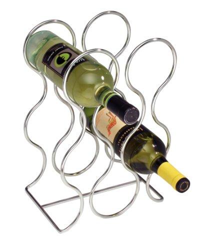 InterDesign Free Standing Wine Storage Rack for Kitchen Countertops - Holds 6 Bottles Chrome