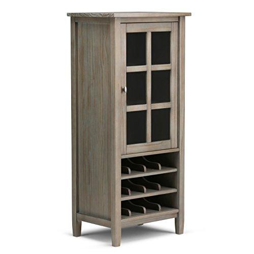 Simpli Home Warm Shaker High Storage Wine Rack Distressed Grey