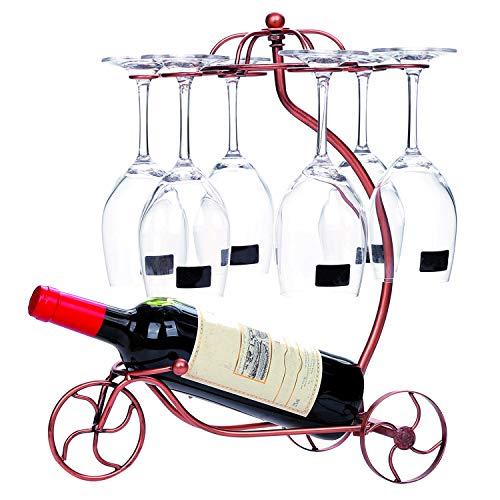 Countertop Wine Glasses Holder Rack Wine Bottle Display StandsStorage 6 Stemware 1 BottleBronze Metal Bicycle Bronze