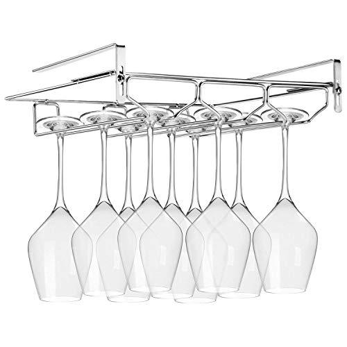 FANGSUN Adjustable Wine Glass Rack Storage Stemware Holder Under Shelf 3 Rows Organizer Hanging Shelf for Bar Kitchen