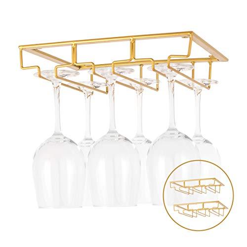 KGYA Wine Glass Holder-Two Pack 3 Rows Under Cabinet Stemware Rack Wine Glass Rack Hanger Storgae for Home BarKitchen Gold