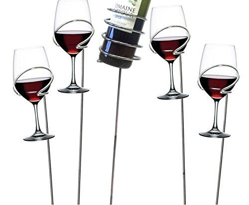 Mind Reader Picnic Wine Sticks 5 pc Set Silver Bottle Glass Holder 5 Piece
