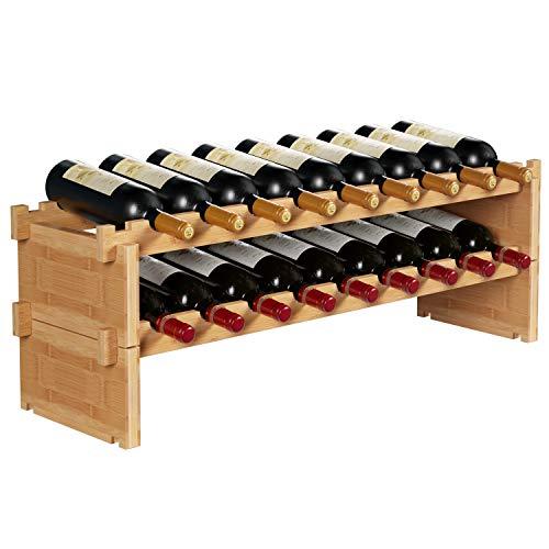 HOMECHO 18-Bottles Stackable Wine Storage Rack Countertop Wine Bottle Display Rack Shelf Free Standing Floor 100 Bamboo Wood Organizer Natural Color