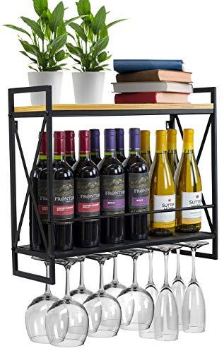 Sorbus Wine Bottle Stemware Glass Rack Industrial 2-Tier Wood Shelf Wall Mounted Wine Racks with 5 Stem Glass Holders for Wine Glasses Flutes Mugs Home Décor Metal