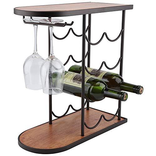 TOPINCN 8-Bottle Wine Rack with Glass Cups Hanger 4-Tier Wine Display Rack Free Standing and Countertop Wine Storage Shelf for Home Bar 1574 x 728 x 1653inch