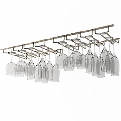 Rack and Hook Stemware Glass Rack  Wine Glass Hanger Under Cabinet Storage Bar or Kitchen Oil Rubbed Finish