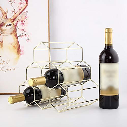 Gotian Nordic Style Wrought Iron Wine Rack - Geometric Iron 6 Bottle - Freestanding Kitchen Storage Stand Gold
