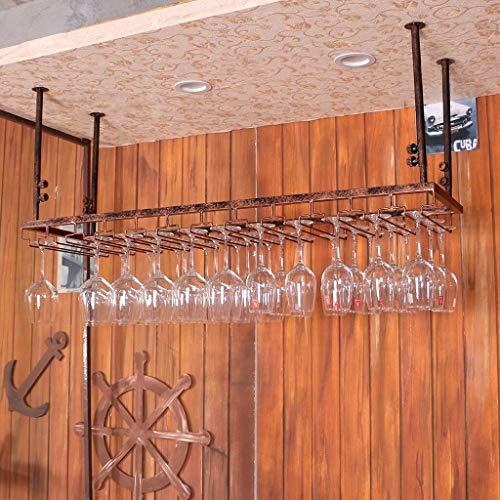 Racks Iron Hanging Wine Glass Rack Ceiling Decoration Shelf For BarsHanging Glass Holder Wine Set Storage Color  Brass Size  3060cm