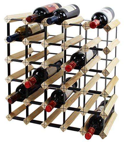 PAG 30-Bottle Wooden Wine Rack Stackable Storage Stand Bottles Holder   Display Shelf Natural
