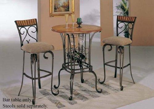 Bar Table with Wine Rack Bronze Oak Finish
