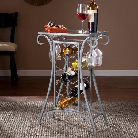 Southern Enterprises Newport Wine Rack Table Silver