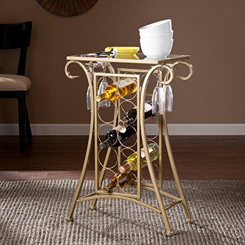 Tzipora Gold Iron Wine Rack Table