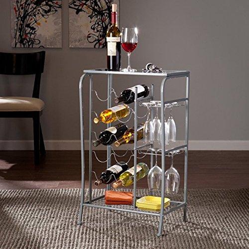 Upton Home Marlena Silver Wine Rack Storage Table