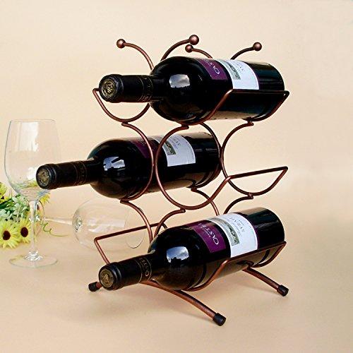 YK Artistic Chrome Home Kitchen 6 Bottle Freestanding Wine Rack Bottle Tabletop Wine Holder Display RackBronze Color