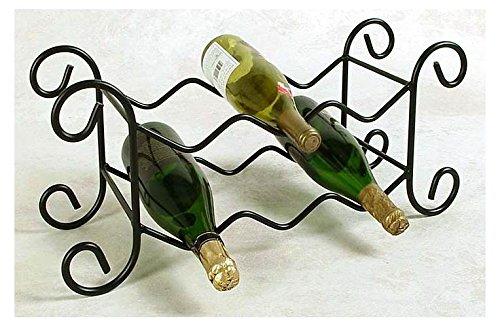 Six Bottle Wine Rack - Wrought Iron - Satin Black Satin Black 8H x 21W x 12D