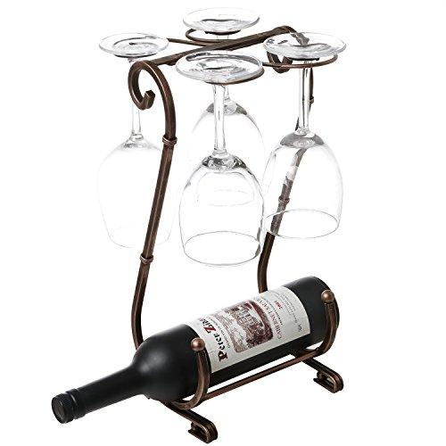 Tabletop Metal Single Wine Bottle Rack 4 Glass Stemware Storage Display Stand Bronze-Tone