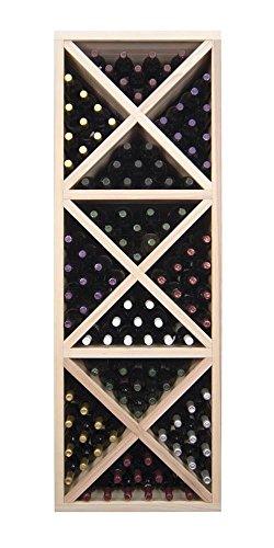 Designer Wine Rack Kit - Solid Diamond Cube wFace Trim -Redwood Dark Walnut