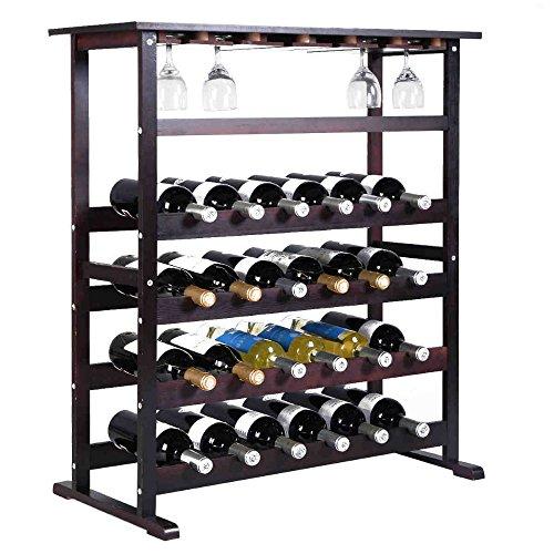 24 Bottle Wood Wine Rack Holder Storage Shelf Display w Glass Hanger