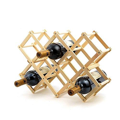 Ieasycan Log Colour Wooden 10 Bottles Red Wine Rack Holder Shelf Home Decor