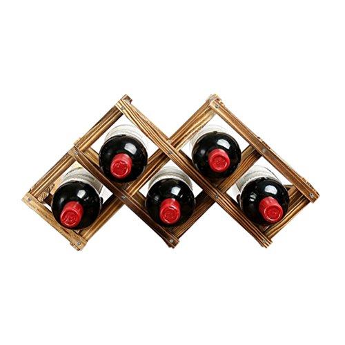 Tinksky Bottle Wooden Countertop Wine Rack Foldable Wooden Tabletop Wine Rack Holder for 6 Bottles Carbonized Color