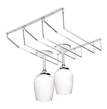 Silver Three Rows Stainless Steel Wine Rack Wine Holder Under Cabinet Stemware Holder Wine Glass Rack Wine Glass Hanging Rack