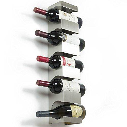Stainless Steel Wine Rack - Wide Multi Bottle Holder with Top Shelf Section - Modern Art Design - Wall Mount Holds 5 Bottles