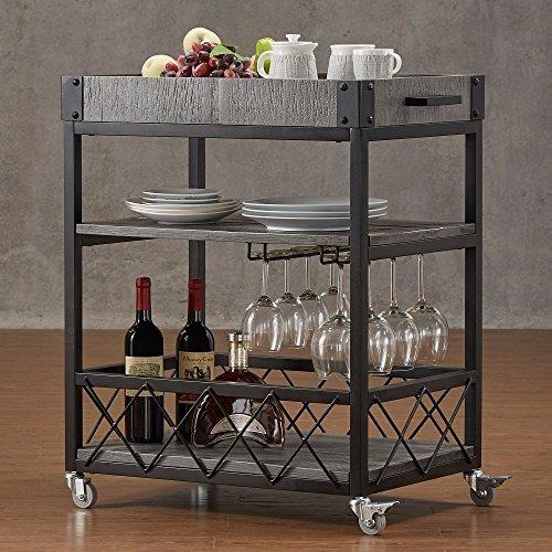 TRIBECCA HOME Myra Rustic Mobile Kitchen Bar Serving Wine Cart Grey