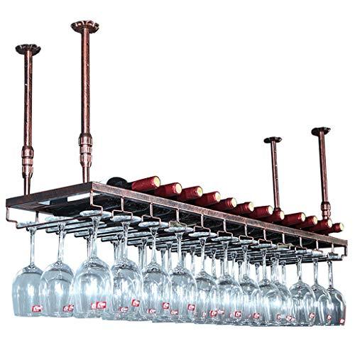 Adjustable Bar Glass Rack Retro Iron Floating Bar Shelves Stemware Holder Metal Ceiling Hanging Tableware Bottle Shelves for Kitchen or Office