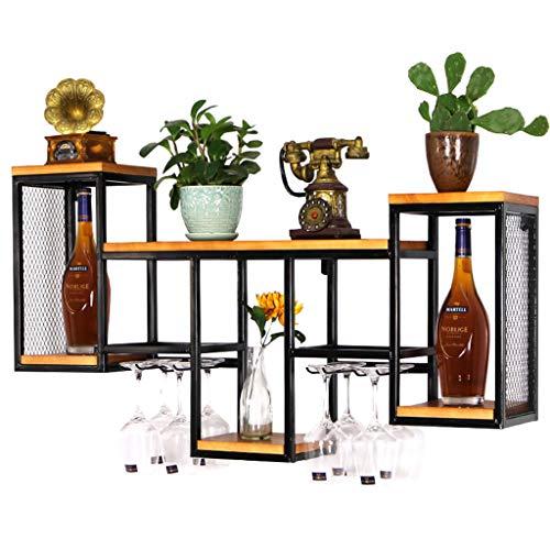 Industrial Retro Wall-Mounted Wine RacksUpside Down Stemware Goblet Wine Glass Holder Metal Vintage Bar Glass Rack Floating Shelves