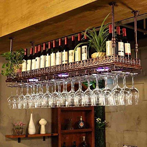 LS Ling Shi Wine Racks Wine Racks - Simple Style Iron Hanging Wine Glass Rack Ceiling Decoration Shelf for BarsRestaurantsKitchens 2 Color 4 Size Wall-Mounted Wine Racks