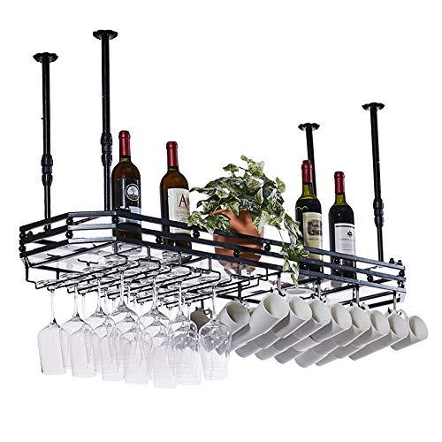 RENEO- Metal Hanging Wine Glass Rack,Wine Bar Wall Rack Stemware Holder,Hanging Bar Glass Rack&Hanging Bottle Holder Adjustable Black 100 × W35cm
