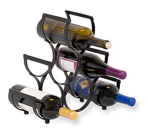 BirdRock Home Wine Rack  Pyramid Wine Stand Holder  6 Bottles  Black Metal