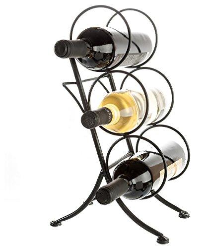 Brelso Wine Bottle Rack Tabletop Display Organizer 3-Bottle Metal Stand Black