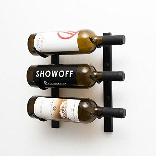 Wine Master Cellars WS11-K 1ft Wall Series 3 Bottle Wine Rack Black
