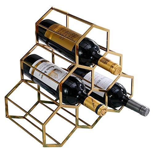 JKLJKL Countertop Wine Rack Metal Bottle Rack Stackable Storage 6 Bottles Freestanding Bar Kitchen Tabletop Decoration Gold