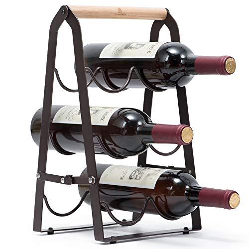 KINGRACK Countertop Wine Rack Tabletop Wood Wine Holder for 6 Bottle Wine 3-Tier Classic Design Perfect for Home Decor Bar Wine Cellar Basement Cabinet Pantry-Set of 1 Wood MetalCopper