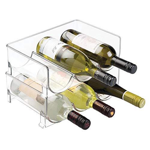 mDesign Modern Plastic Stackable Vertical Standing Wine Bottle Holder Stand - Storage Organizer for Kitchen Countertops Pantry Fridge - Each Rack Holds 3 Bottles 2 Pack - Clear