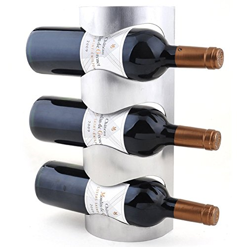 MATE Stainless Steel Wine Bottle Holder Novelty Wall-mounted Wine Rack 3-bottle Capacity